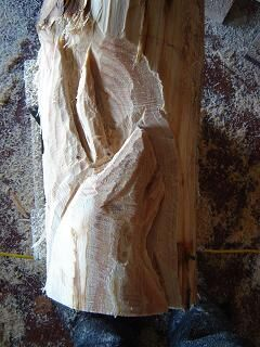 howling wolf wood carving