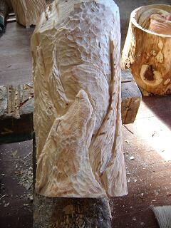Fur Textured In wood wolf carving