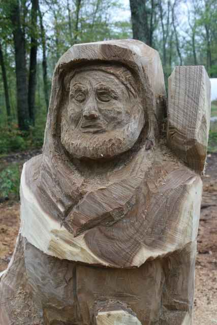 Face of the st francis carved