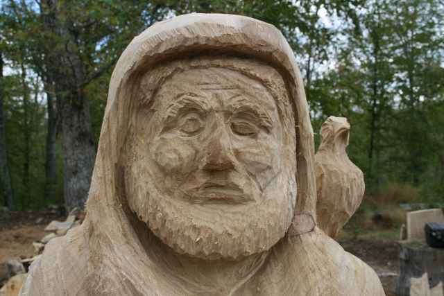 another view of the Face of the st francis carved
