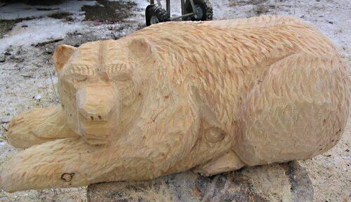 laying Bear Wood Carvings