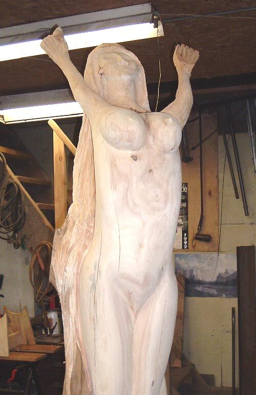 """mermaid starting to take her """"shape"""" with an arbor tech mini sander & dual action air sander."""
