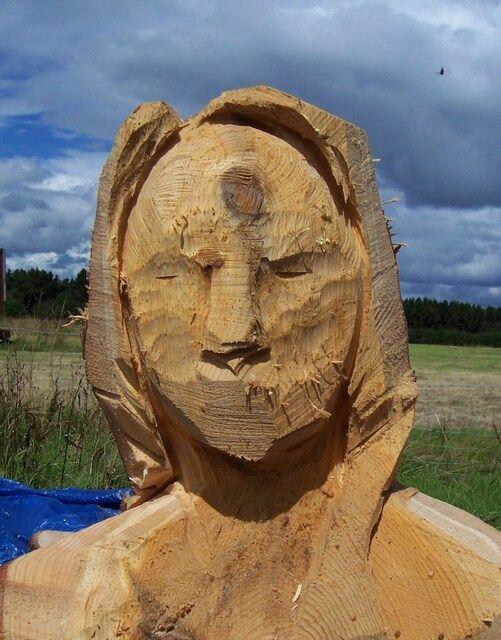 scrape back the wood to create the eye sockets